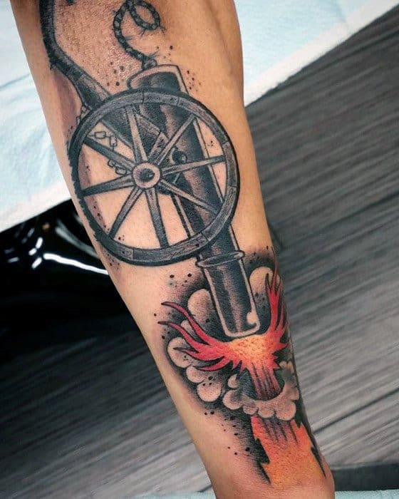 Outer Forearm Cannon Guys Tattoo Ideas