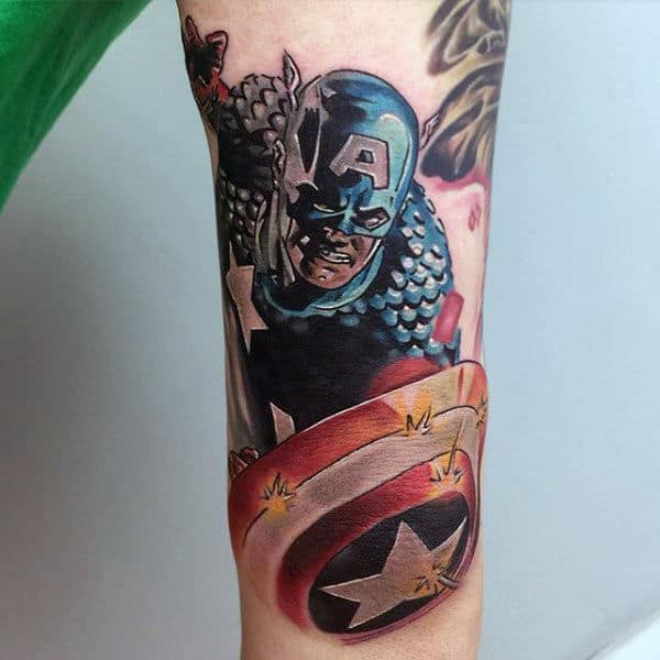 Outer Forearm Captain America Tattoo On Male