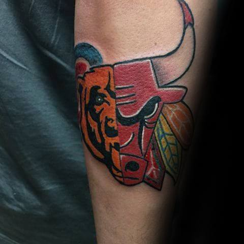 Outer Forearm Chicago Bears Tattoo Ideas For Males