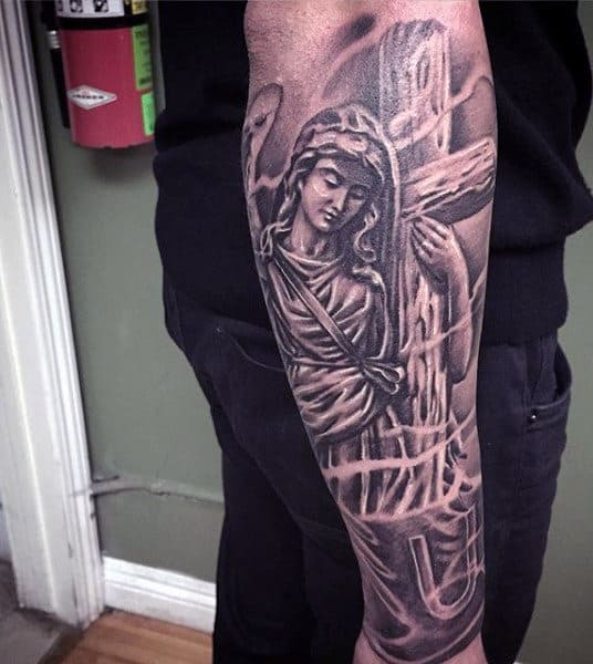 Outer Forearm Christian Tattoo Sleeves For Men Angel With Cross