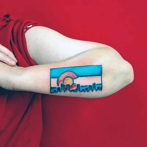 Outer Forearm Colorado Flag With Skyline Mens Tattoo