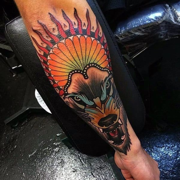Outer Forearm Colorful Mens Wolf Tattoos