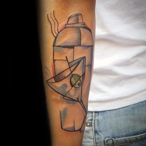 Outer Forearm Cool Male Cubism Tattoo Designs