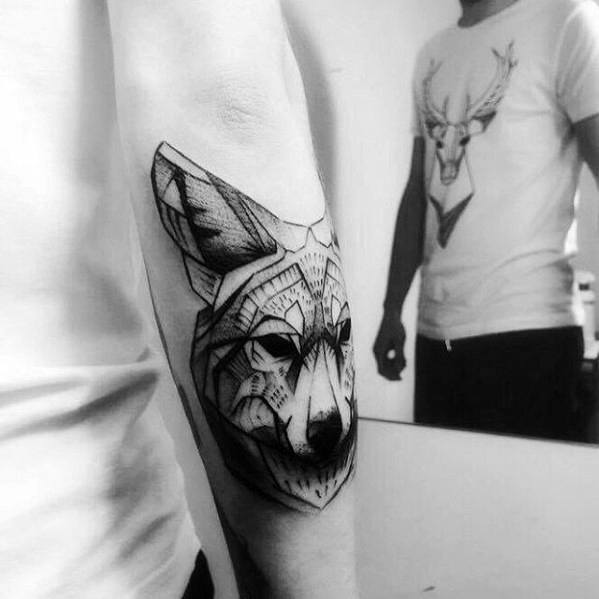 Outer Forearm Coyote Tattoo Ideas For Males