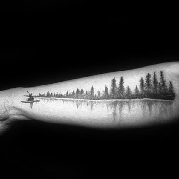 Outer Forearm Creative River Tattoos For Men