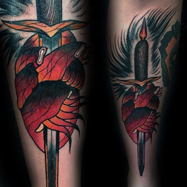 Outer Forearm Dagger Broken Heart Guys Tattoos