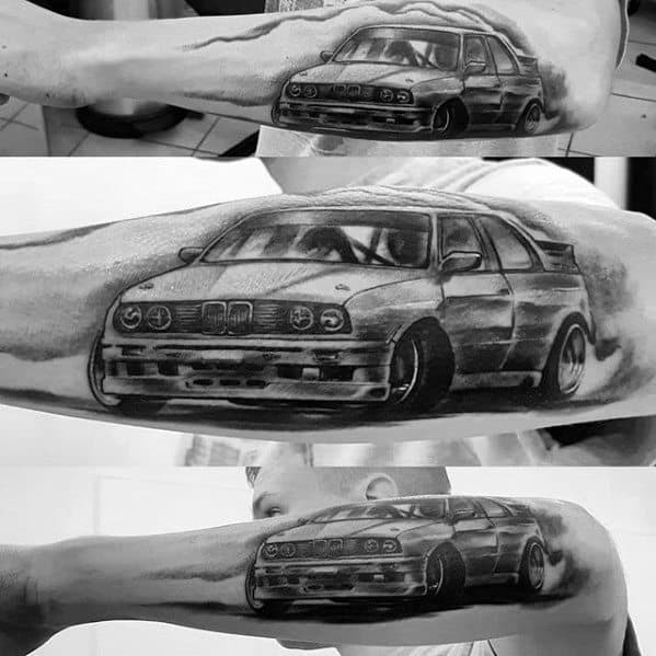 Outer Forearm Drifting Bmw Tattoo Designs On Men