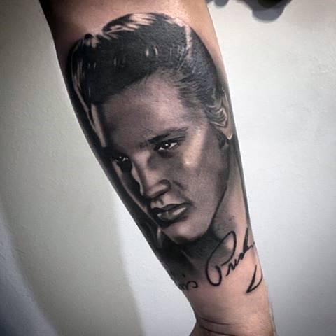 Outer Forearm Elvis Presley Tattoos Guys