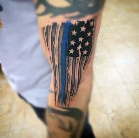 Outer Forearm Flag With Thin Blue Line Male Tattoo Design Inspiration
