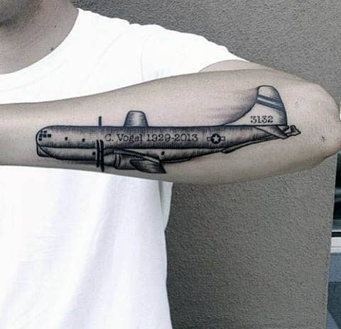 Outer Forearm Flying Plane Tattoo Men