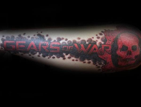 Outer Forearm Gears Of War Guys Logo Tattoos