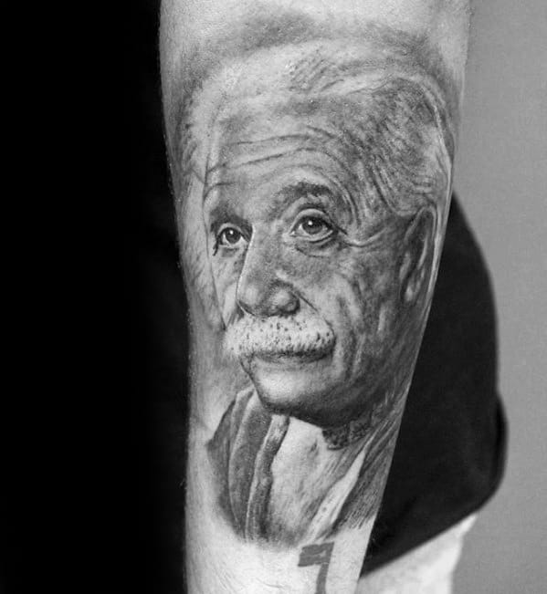 Outer Forearm Guys Albert Einstein Tattoo Designs