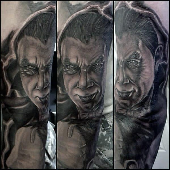 Outer Forearm Guys Dracula Shaded Portrait Tattoos