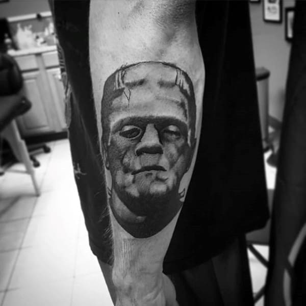 Outer Forearm Guys Frankenstein Shaded Tattoo Inspiration