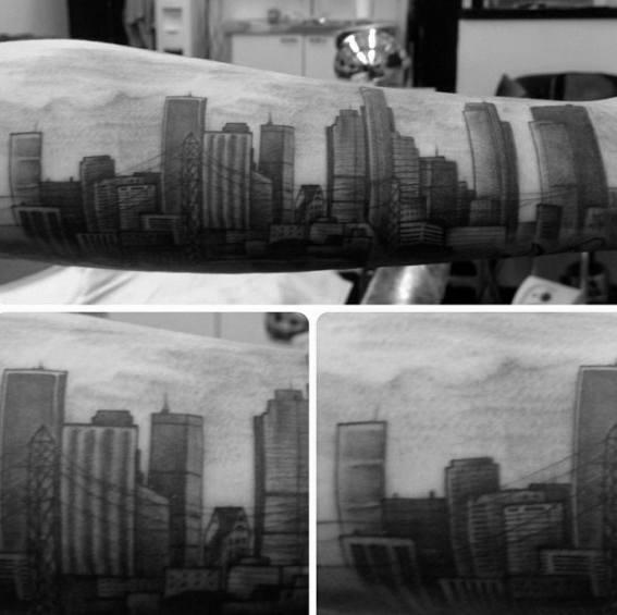 Outer Forearm Guys Los Angeles Skyline Tattoos