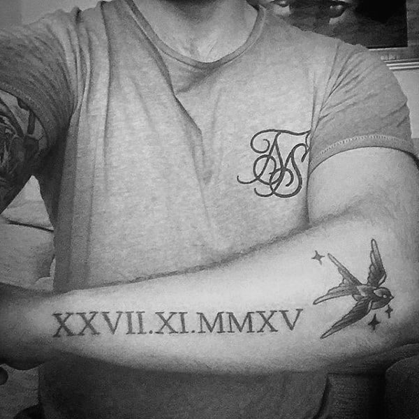 Outer Forearm Guys Roman Numeral With Sparrow Tattoo