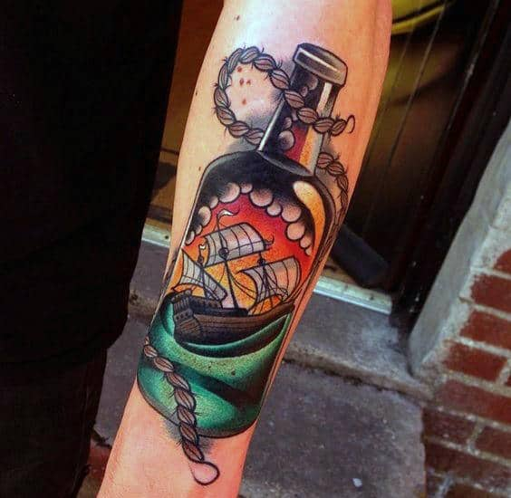 Outer Forearm Guys Ship In A Bottle Tattoo Designs