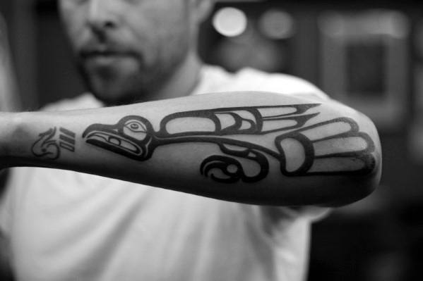 Outer Forearm Guys Tribal Bird Haida Tattoo Ideas