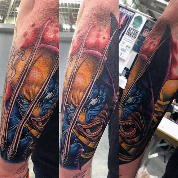 Outer Forearm Guys Wolverine Tattoos