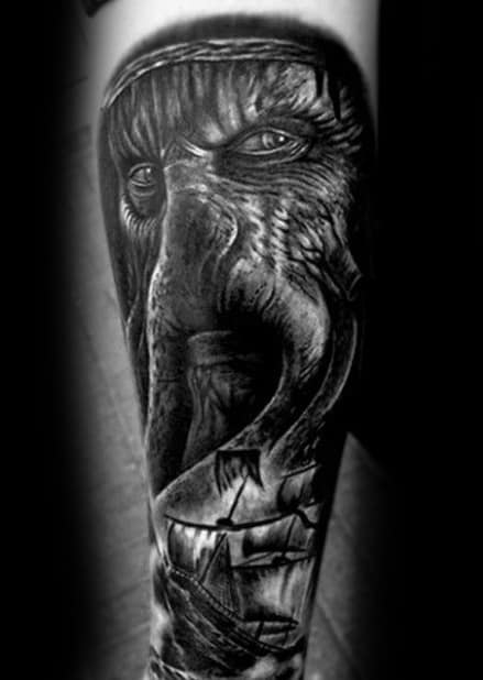 Outer Forearm Heavily Shaded Davy Jones Tattoos Men