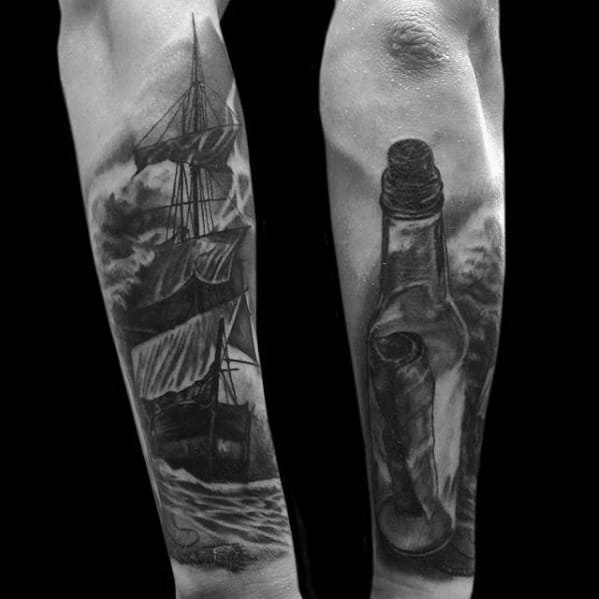 Outer Forearm Heavily Shaded Mens Message In A Bottle Tattoo Design Ideas
