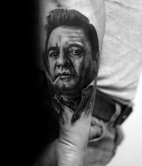 Outer Forearm Johnny Cash Male Tattoo Designs