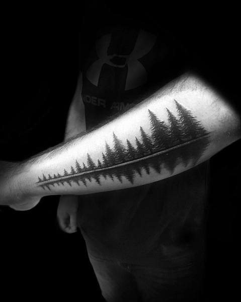 Outer Forearm Lake Water Reflection Creative Tree Line Tattoos For Guys