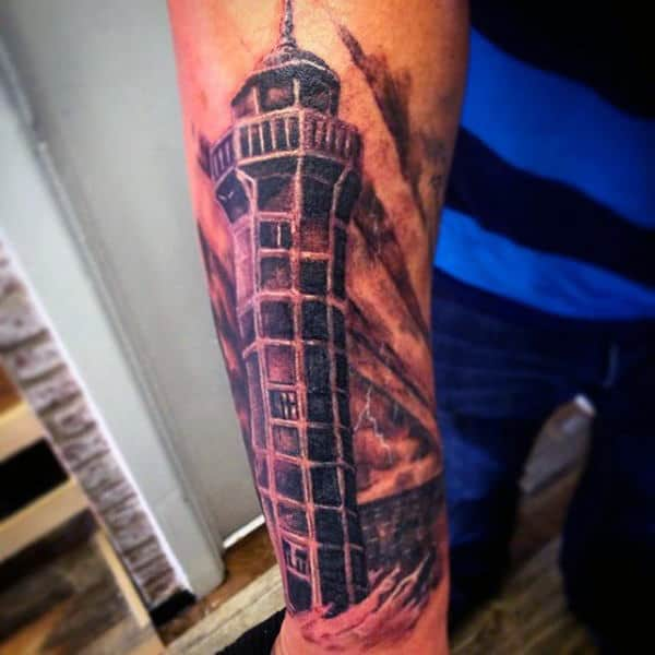 Outer Forearm Lighthouse Guys Tattoo Designs