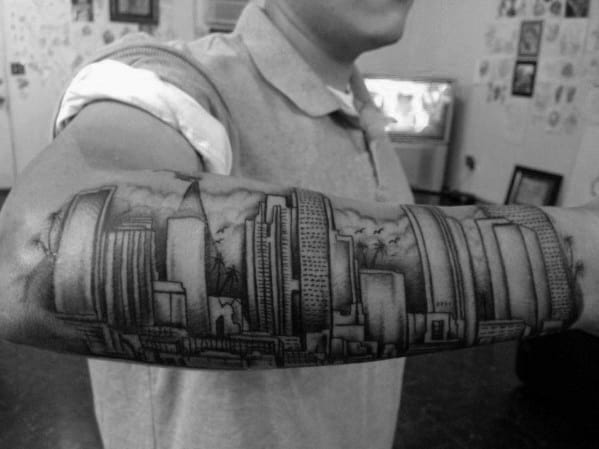 Outer Forearm Los Angeles Skyline Tattoo Designs For Guys