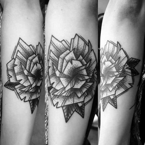 Outer Forearm Mal Geometric Rose Shaded Tattoo