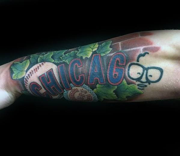 Outer Forearm Male Chicago Cubs Tattoo Ideas