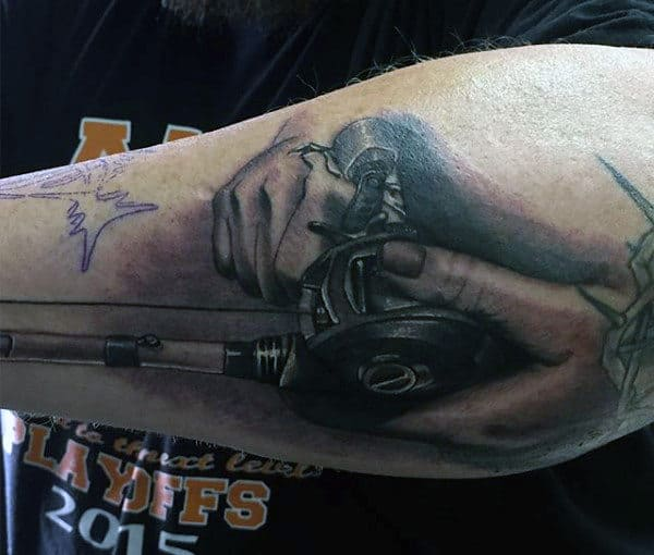 Outer Forearm Male Fishing Pole Tattoo