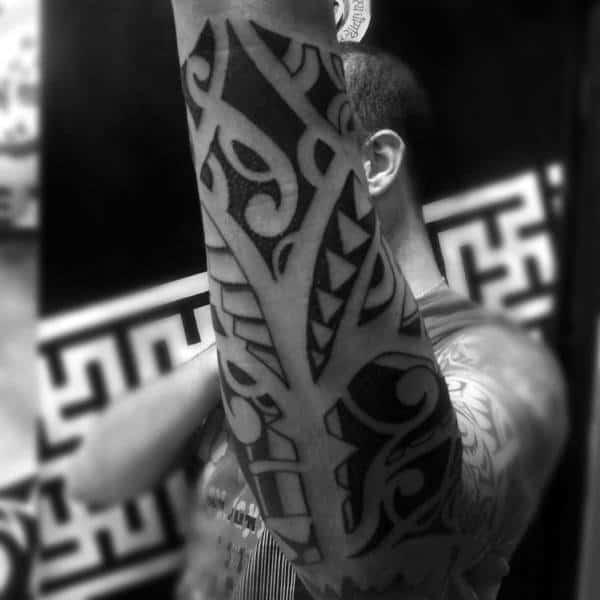 Outer Forearm Male Hawaiian Tribal Tattoo Design Ideas