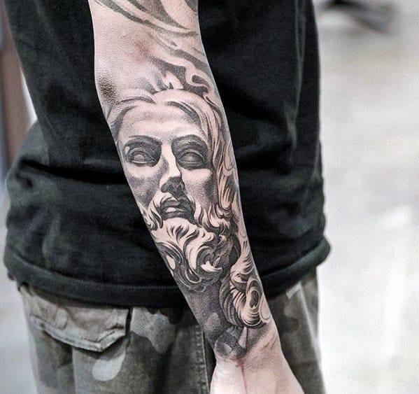 Outer Forearm Male Jesus Portrait Tattoo Ideas