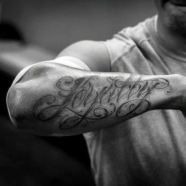 Outer Forearm Male Loyalty Tattoos