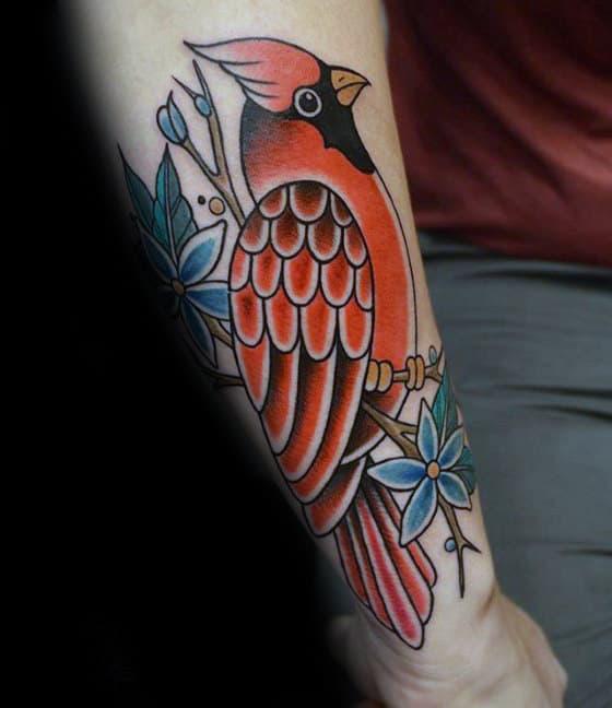 Outer Forearm Male Orange Traditional Bird Tattoo Design Ideas