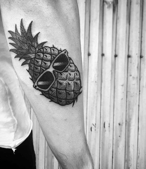 Outer Forearm Male Pineapple Sunglasses Tattoo Design Inspiration