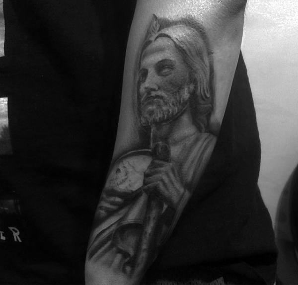 Outer Forearm Male Tattoo Of St Jude