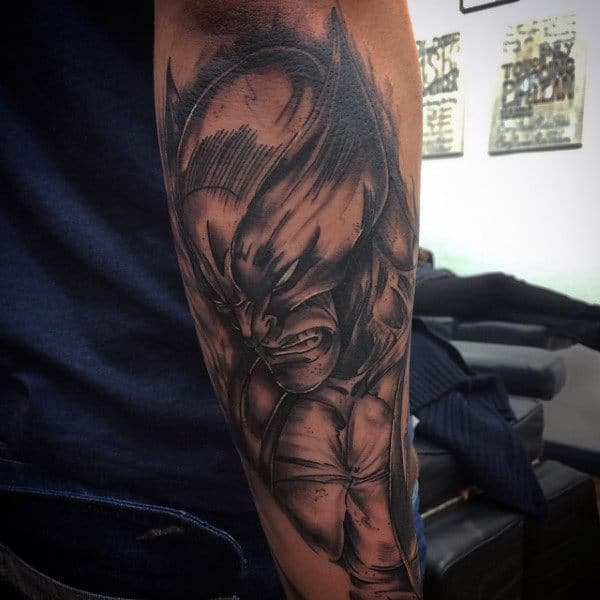 Outer Forearm Male Wolverine Shaded Tattoo Inspiration