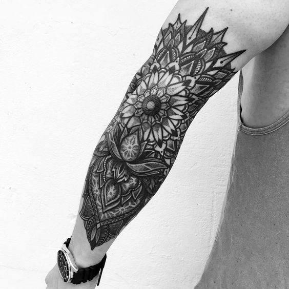 Outer Forearm Mandala Guys Tattoo Designs