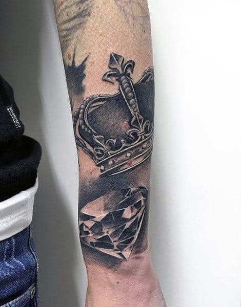 Outer Forearm Mens Diamond And Crown Tattoo