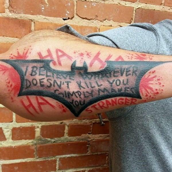 Outer Forearm Mens Joker Batman Symbol Tattoo Ideas