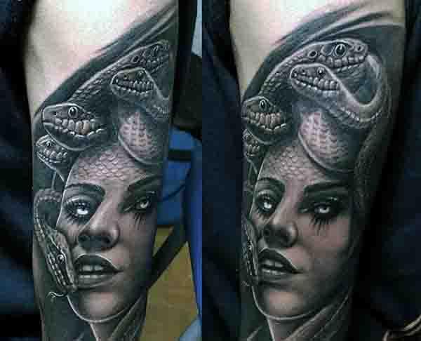 Outer Forearm Mens Medusa Tattoo Inspiration