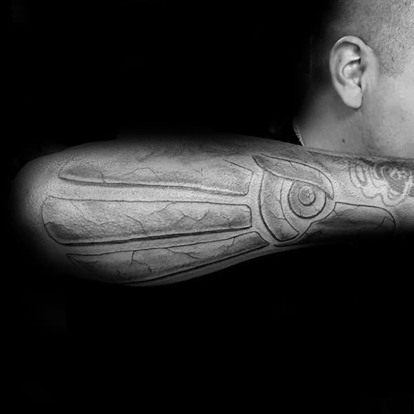Outer Forearm Mexican Eagle Stone Mens Cool Tattoo Ideas