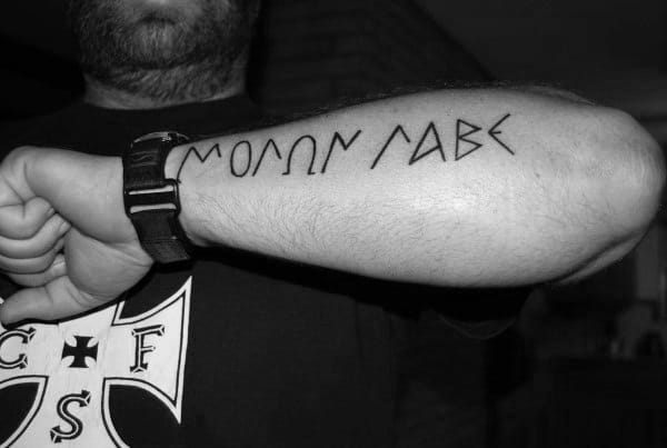 Outer Forearm Molon Labe Wording Outline Tattoo Design