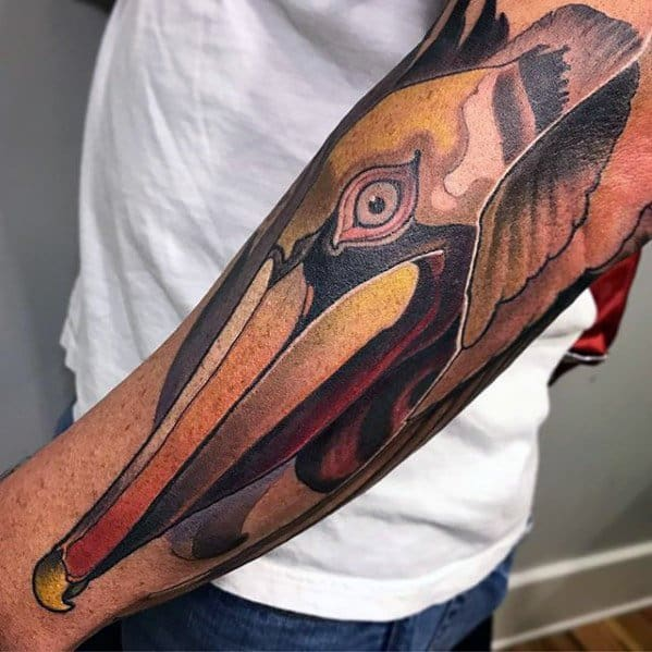 Outer Forearm Neo Traditional Pelican Guys Tattoos