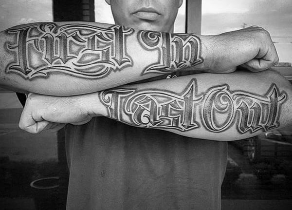 Outer Forearm Old English Quote Tattoos