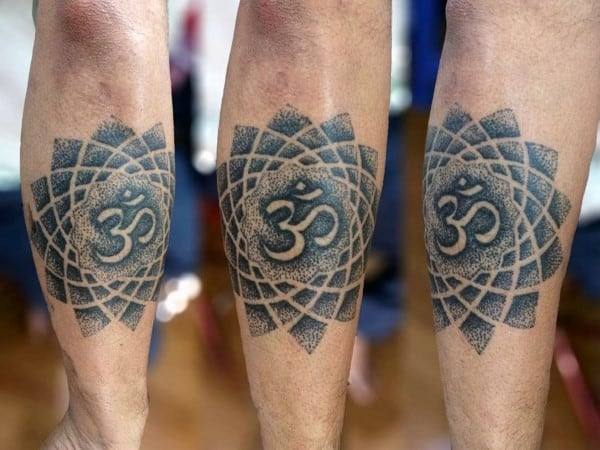 Outer Forearm Om Tattoo On Gentleman With Dotwork Design