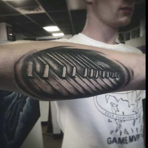 Outer Forearm Piano Keys Shaded Guys Tattoo Design Ideas