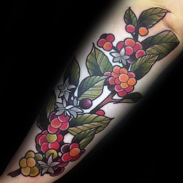 Outer Forearm Plant Coffee Guys Tattoos
